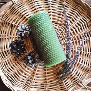 mehiläisvahakynttilä hunajakenno vihreä