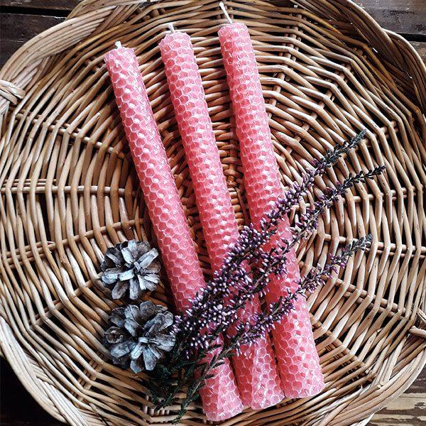 mehiläisvahakynttilä kruunukynttilä pinkki