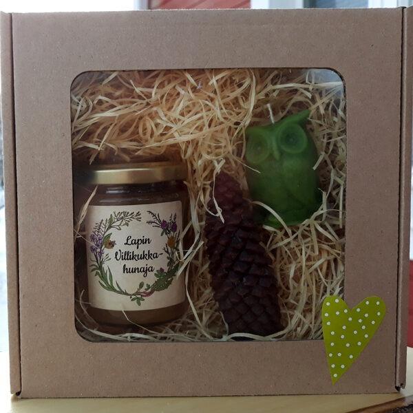 lahjapakkaus hunaja & mehiläisvahakynttilät